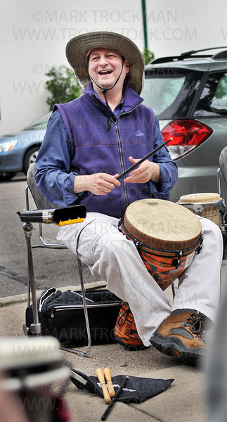 A drum circle, led by author and African drumming instructor Alan Dworsky, greeted visitors to the 'Happy 100th: Then, Today, Tomorrow': A celebration of the Hopkins Library's 100th birthday with tales of the Dow House and ghosts, photo displays, contests and local authors Sunday, June 03, 2012.
