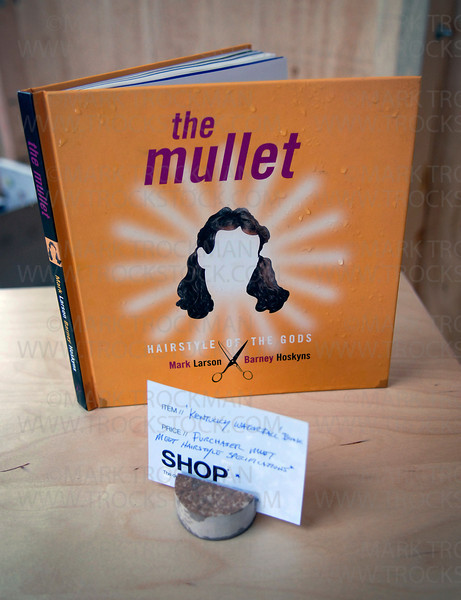 One of many Shop Shanty item for sale, where items are exchanged for anything other than money, features the book The Mullet.  In order to purchase the book a person must meet proper mullet-hair requirements as determined by the shanties' proprietors.  The Art Shanty Projects on Medicine Lake is a gathering of 20 unique shanties that display art in many forms like performance, architecture and science.