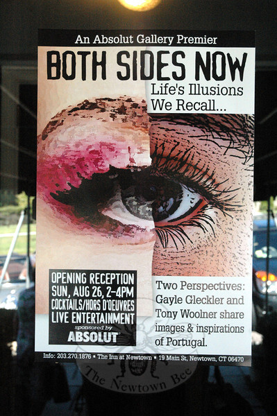 A poster advertises the joint art show of  Tony Woolner and Gayle Gleckler at The Inn at Newtown. The show will run at the inn for the next two months. (Gorosko photo)