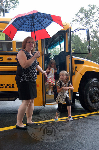 Hawley Elementary School students were greeted by staff members for their first morning of the 2012-13 school year. (Hallabeck photo)