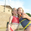 Erica Palmieri, left, and Nina Furrier had fun together at Treadwell Park on Wednesday, August 22, with less than a week left of their summer vacation. (Bobowick photo)