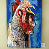 """Portuguese Rooster,"" a vivid, multi-colored acrylic painting by Gayle Gleckler, is among the paintings on display at The Inn at Newtown. (Gorosko photo)"