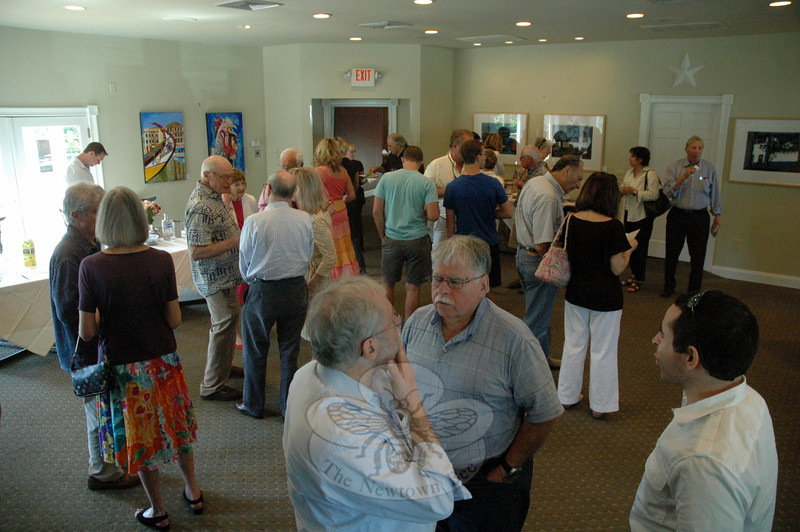"""Both Sides New – Life's Illusions We Recall…,"" a joint show by artists Tony Woolner and Gayle Gleckler, had its opening reception at The Inn at Newtown on August 26. (Gorosko photo)"