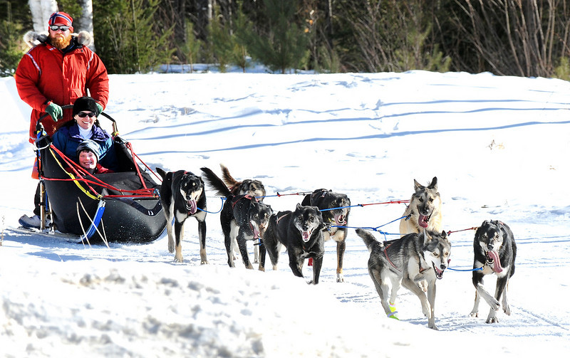 Sunday River Sled Dog musher Krister Raasoch guides his team of sled dogs through the woods on the cross country trails at Sunday River Tuesday afternoon.