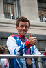 Tom Daley, Olympic Diver, takes part in the Team GB parade London 2012.