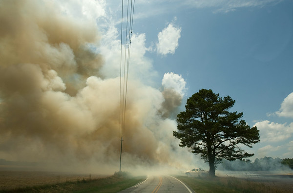 Smoke from a control burn billows across Speight Seed Farm Road near the Arthur-Winterville border Tuesday afternoon.  The cut wheat field burned out in a matter of minutes.  (Jenni Farrow)