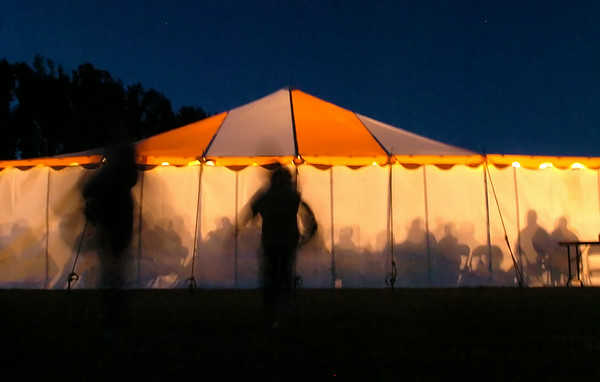 Just before Grimsland on Hwy 33 Saturday night, you could see a glowing tent filled with people from the nearby hispanic community.  (Jenni Farrow)