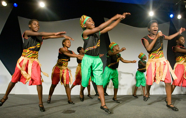 The African Children's Choir from Uganda performs at the Greenville Christian Fellowship Sunday evening.