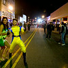 Still early in the night for the downtown Halloween celebration, Mandy Appleby, as Tinkerbell, and Lee Abbey, as Wolverine, make the most of their night on the town.