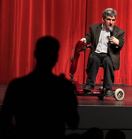 A university student asks guest speaker, Matt Roloff, a question during a Q & A at Wright Auditorium.  (jenni Farrow)