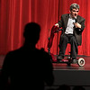 A university student asks guest speaker, Matt Roloff, a question during a Q & A at Wright Auditorium.  (jenni Farrow)