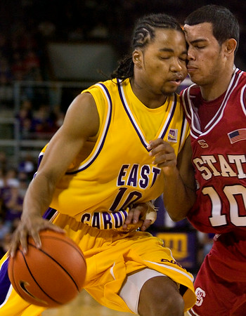 Saturday at Minges was a night of intensity as the Pirates litterally went 'head to head' with NCSU.  It was a 'close' game.  (hahahahaha!) (Jenni Farrow)