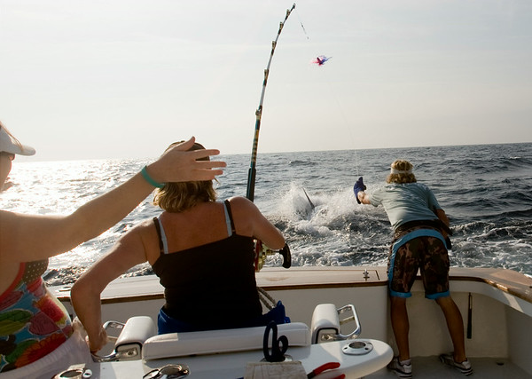 Celebration all around as Karen Sealock reels in a 550lbs blue marlin, the first catch of the day off the Qualifier June 24, 2008.  Mate Chris Kubik pulls in the catch as it breeches.  (Jenni Farrow/TheDailyReflector_Greenville)