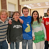 Newtown students, from left, Michael Ziluck, Noelle Villette, Zachary Weiland, Erica Bloomberg, and Adam Liscinsky stand together as a team at the second annual Odyssey of The Mind Spontaneous Scrimmage held at Reed Intermediate School on Thursday, January 14.  (Hallabeck photo)