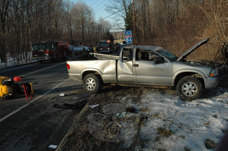Kenneth C. Bailin, 51, of Ridgefield, who was outside his parked pickup truck, died as a result of injuries he suffered when a Pontian Sunfire collided with the man and his truck shortly after 2:30 pm on Thursday, January 14. Police closed a section of Hawleyville for more than five hours as they investigated. It was the  first fatal motor vehicle accident in Newtown since the night of Easter Sunday 2006, when a Danbury woman died after a one-car collision on nearby Mt Pleasant Road.(Gorosko photo)