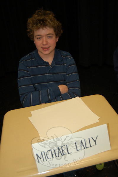 Newtown Middle School eighth grade student Michael Lally was named the 2010 National Geographic Geography Bee champion for NMS after competing through multiple rounds with eight other students.  (Hallabeck photo)