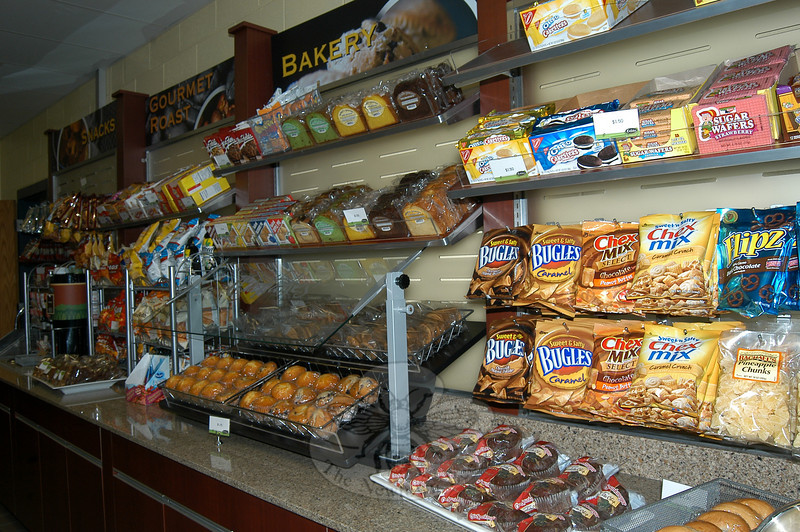 Food options in Chartwells' new store, Outtakes, offers students the chance to grab and buy snacks and meals.  (Hallabeck photo)