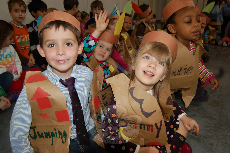 Students at Fraser-Woods School participated in a Thanksgiving ceremony on Wednesday, November 25. Some students came to the ceremony dressed as Native Americans, and others came to read the history of the day. Students from all levels of the school participated in the ceremony.  (Hallabeck photo)