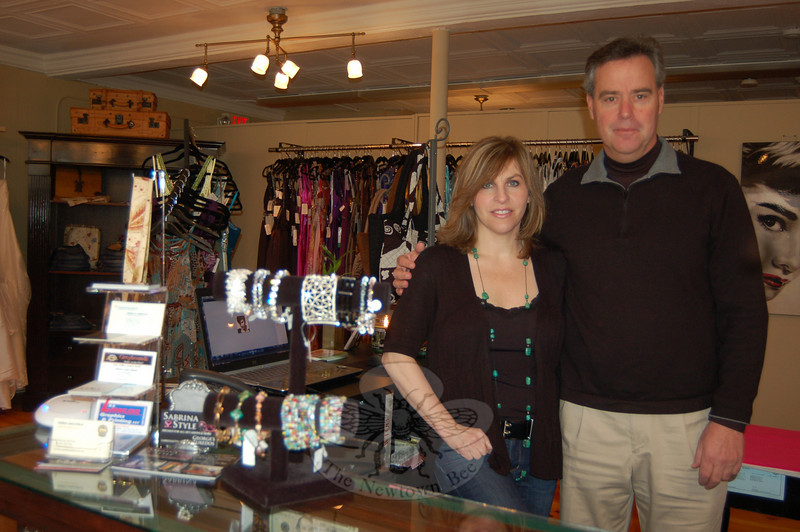 Irene and Chris Caulfield are pleased with the good response they have received since opening Sabrina Style in Sandy Hook Center in May 2009. The boutique is a source of prom, wedding, and special occasion gowns, and tuxedoes, as well as accessories for special events. Personal service, and products that are contemporary and stylish are the hallmarks of the new business.  (Crevier photo)