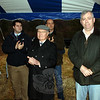 Former First Selectman Joe Borst (center, in hat) attended an open space reception along Brushy Hill Road on Monday.  (Bobowick photo)