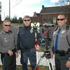 Three Newtown police officers conducted a motor vehicle accident investigation training project recently at Fairfield Hills. From left are Officer Steve Ketchum, Officer Jeff Silver, and Officer David Kullgren. Officers Ketchum and Kullgren are in the police department's traffic enforcement unit. Officer Silver is the department's commercial truck inspector.  (Gorosko photo)