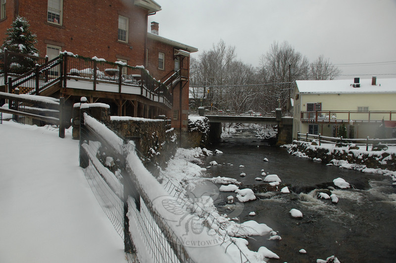 Looking south along the Pootatuck River to Sandy Hook Center.  (Bobowick photo)