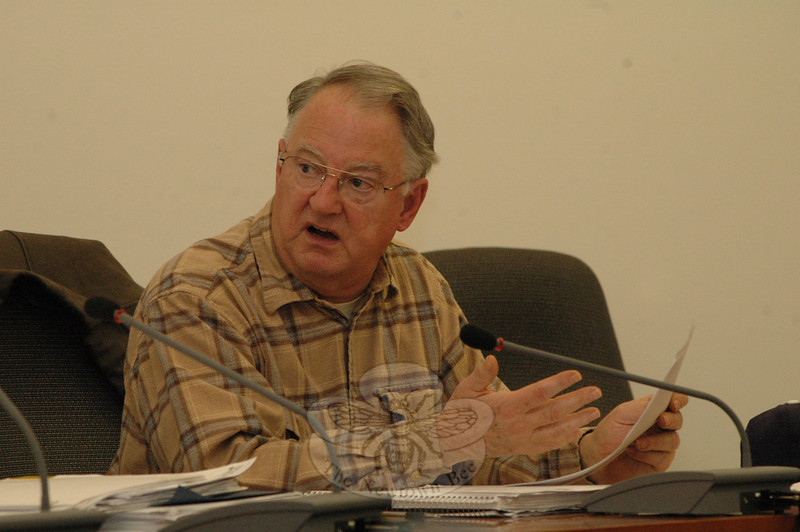 Planning and Zoning Commission (P&Z) member Robert Mulholland discusses aspects of a new set of environmental protection regulations which the P&Z approved at a December 17 session.  (Gorosko photo)