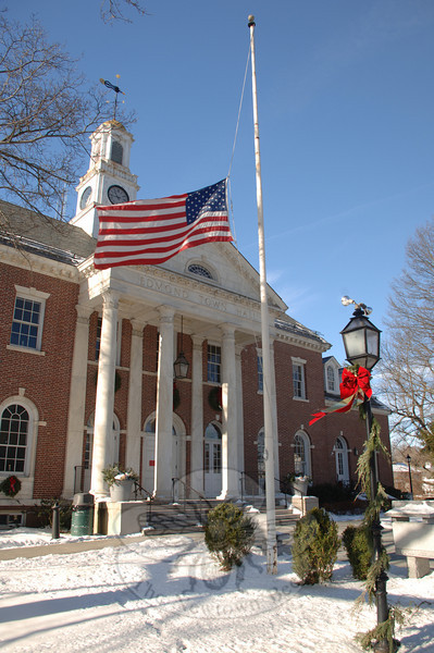Edmond Town Hall still welcomes the public to movies, events on its stage, and other business conducted with the few personnel remaining since the municipal offices have relo-cated to their new space in Fairfield Hills. The Alexandria Room and adjoining kitchen, theater, downstairs gymnasium, and private room use and rentals are still part of day-to-day activities.  (Bobowick photo)
