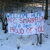 "James and Cathy Smarrella put this banner out at the end of their driveway on Philo Curtis Road to welcome their son, US Marine Corps PFC Matthew Smarrella, home recently. PFS Smarrella left Iraq on December 10, and his father picked him up in Fredericksburg, Va., on December 22, just in time for Christmas and New Year's. PFC Smarrella spent about two weeks at home, his father told The Bee this week, and left on Monday morning, January 4, to report back for duty. ""We saw a lot of people slowing down to read the banner, and people would honk their horn if they saw us outside,"" James said this week. ""Someone even tied a balloon that says 'Thanks' to the banner. We don't know who did it, but that was nice to see.""  (Hicks photo)"