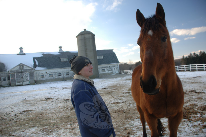 Jennifer Mazzara spends time caring for the horses at the Second Company Governor's Horse Guard where they graze outside the stables.  (Bobowick photo