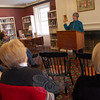 Former Newtown resident and author Polly Brody read from her most recent work, Stirring Shadows, published in November, to a group of listeners in the Antiques Reference room at C.H. Booth Library on Sunday, January 10.  (Hallabeck photo)
