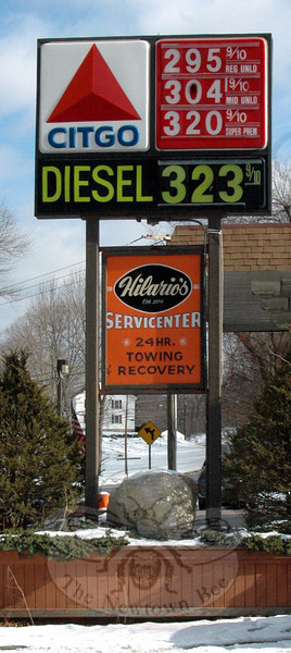 While the per gallon cost of higher grade gasoline is at or over $3 at several Newtown stations, most of the locations canvassed on January 12 were maintaining prices of $2.99 or less per gallon for regular grade.  (Voket photo)