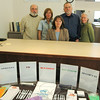 Newtown Health District's point person for radon education Ed Knapik, second from right, is joined by fellow staffers, from left, Mike Carey, Suzette LeBlanc, Director Donna Culbert, and Maureen Schaedler at their annual Radon Action Month information station at Newtown's Municipal Center.  (Voket photo)