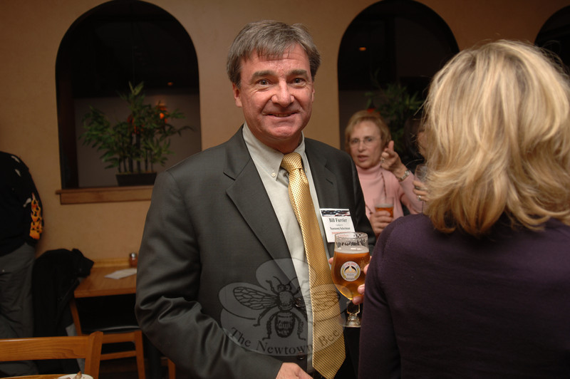The first Independent Party of Newtown member to earn a seat on the Board of Selectmen since the town's newest party emerged, Bill Furrier celebrated at My Place Restaurant where he and fellow IPN party members gathered.  (Bobowick photo)