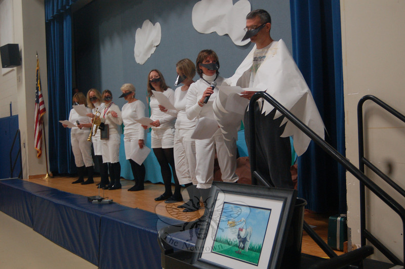 Hawley Elementary School teachers put on a play for students, staff and faculty members during the finale for this year's One School One Read program, which has the entire school read, discuss and celebrate one book. This year's book was The Trumpet Of The Swan, by E.B. White.  (Hallabeck photo)