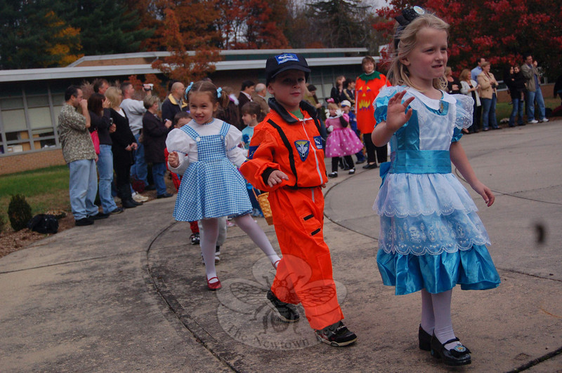 Sandy Hook School kindergarten students displayed their costumes for their parents on Friday, October 30, during the school's annual Halloween Parade.  (Hallabeck photo)