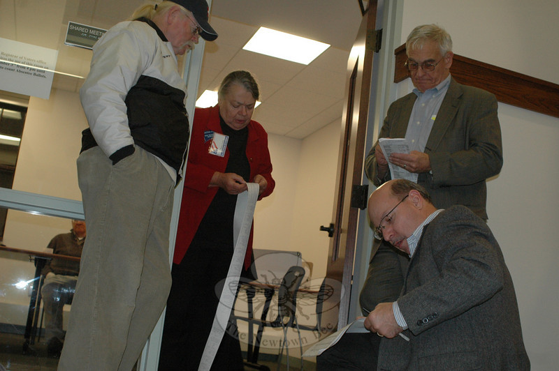 After the polls closed on Tuesday evening, from left, Ross Carley, Assistant Registrar Nancy Larin, Alan Clavette, and Robert Hall checked absentee ballot totals.  (Voket photo)