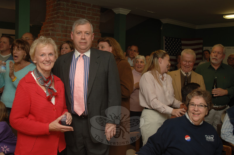 Nearly an hour after polls closed, the numbers were clear: Republican Patricia Llodra had been elected the town's new First Selectman and fellow Republican Will Rodgers had won a seat on the Board of Selectmen.  (Bobowick photo)