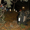 A 16-year-old boy was driving a 2005 Saturn Vue westward on Alberts Hill Road about 2 am on October 17, when the vehicle went off the road's right shoulder entered a wooded area, struck a tree, and then overturned. All four teenage occupants were able to exit the vehicle, police said. The driver received chest and neck injuries from the vehicle's seatbelt. A 15-year-old male rear-seat passenger received facial, head, and shoulder injuries said. Newtown am-bulance volunteers transported both the driver and that passenger to Danbury Hospital for treatment of injuries. The two other passengers, who are a 14-year-old boy and a 14-year-old girl, left the accident scene before emergency personnel arrived, police said. Both passengers were later located and had received minor injuries in the crash, police said. Sandy Hook firefighters responded to the accident. The driver was driving the vehicle with a learner's permit and without the required supervision of a licensed driver, police said. Police withheld the identity of the driver because he is under age 18. The accident is under investigation and enforcement is pending.  (Hicks photo)