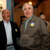 Many of the candidates for this season's municipal elections attended a pre-debate meet and greet Monday night at Edmond Town Hall including Joe Hemingway, left, Democrat candidate for Board of Selectmen. With his is outgoing Democratic selectman and former First Selectman Herb Rosen-thal.  (Bobowick photo)