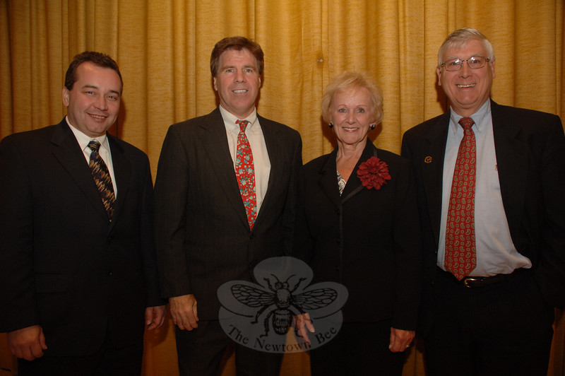 The four candidates running for Newtown's First Selectman are, from left, petitioning unaffiliated candidate Patrick Heigel, Democrat Gary Fetzer, Republican Pat Llodra, and Independent Party of Newtown challenger Bruce Walczak. The candidates all participated in an October 19 debate at Edmond Town Hall sponsored by The Newtown Bee.  (Bobowick photo)