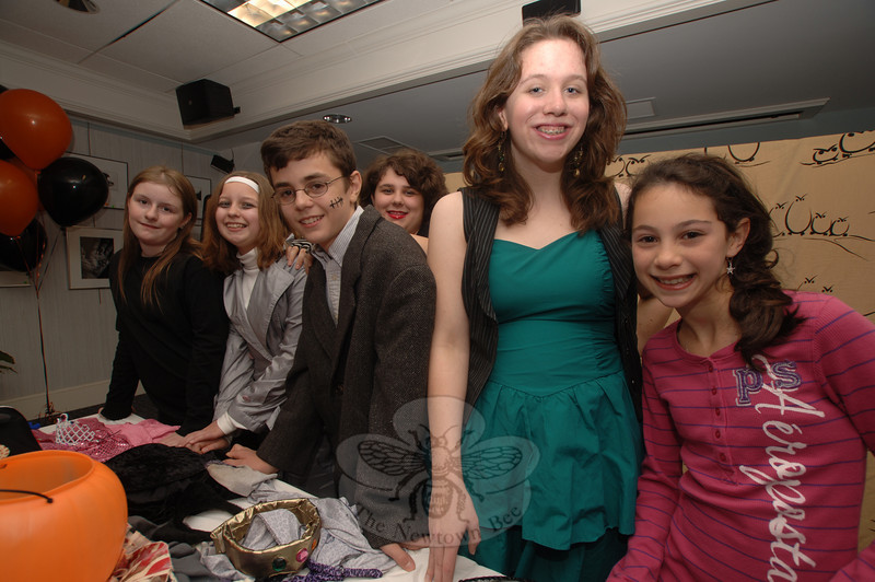 """Booth Library's Mask & Wig Players performed """"Freaky Phil's Costume Shop"""" on October 18. From left are Mary Kate Halmose, Sarah Greenwood, Tristan Villamill, Meghan Marini, playwright AnnaMaria Marini, and Zoe Brodsky.  (Bobowick photo)"""