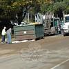 Main Street garbage truck fire cleanup, October 20.  (Gorosko photo)
