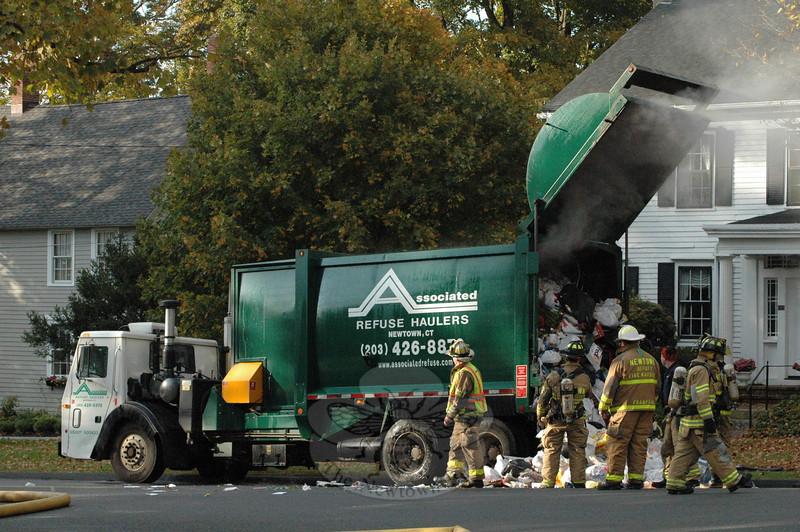 Main Street garbage truck fire, October 20.  (Gorosko photo)