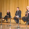 Facing the more than 100 spectators attending Monday night's debate, Newtown's four First Selectman candidates expressed their ideas on town economy, finances, future planning, and ongoing projects including Fairfield Hills, school funding, and the local business community. From left are Democrat Gary Fetzer, Republican Pat Llodra, petitioning candidate Patrick Heigel, and Independent Party of Newtown challenger Bruce Walczak.  (Bobowick photo)