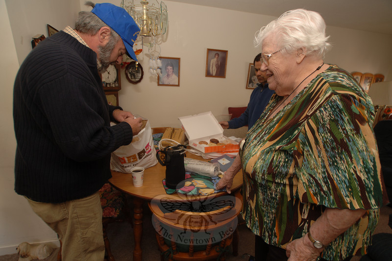 Mary Kinzel spent time talking with some of the visitors from Hiram Lodge No. 18 Masons who visited her apartment in Nunnawauk Meadows on Saturday, October 18, to deliver her morning coffee. She thanked them for her early birthday present.  (Bobowick photo)