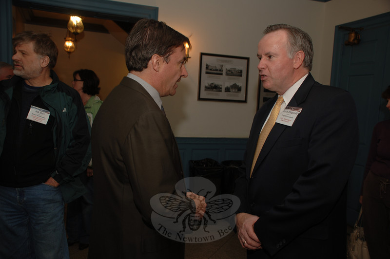 Many of the candidates for this season's municipal elections attended a pre-debate meet and greet Monday night at Edmond Town Hall including William Furrier, left, who is seeking a seat on the Board of Selectman. With Mr Furrier is Legislative Council hopeful Kevin Fitzgerald, also a member of IPN.  (Bobowick photo)