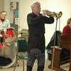 Residents and volunteers from the Nunnawauk Meadows Residents' Association gathered on October 21 for the community's Fall Celebration. Guests enjoyed snacks and beverages, along with a live concert with Music From The Heart featuring Bucky Milan on vocals and trumpet (left), Jeremy Alston on percussion, and Ethel Kaufman on keyboards.  (Voket photo)