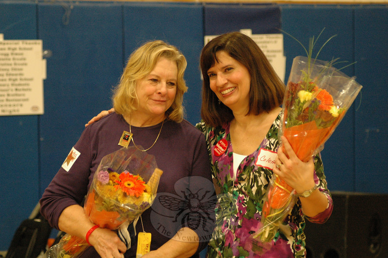 Ginny Chion and Colette Ercole, the co-chairpersons of the 2009 Light the Night Walk, received gifts of flowers for their efforts in leading the event on October 24.  (Gorosko photo)
