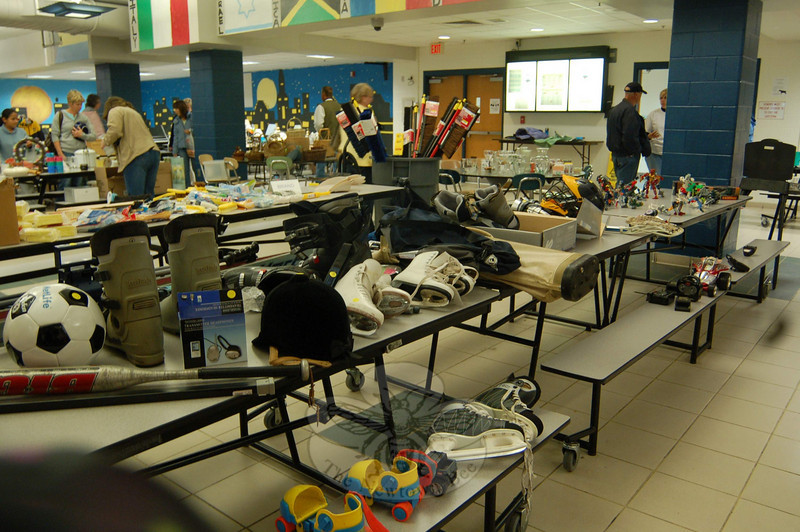 Newtown High School Marching Band & Guard's first tag sale event, called the 100 Family Tag Sale, was held from 9 am to 4 pm in the NHS cafeteria on Saturday, October 24. The event raised more than $3,800 for the group.  (Hallabeck photo)